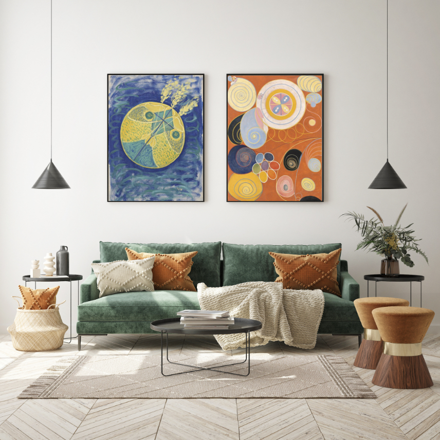 Contemporary artwork displayed in living room